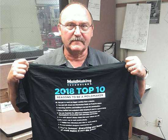 Jerry Ward at Precise Tooling Solutions with MoldMaking Technology Top 10 t-shirt