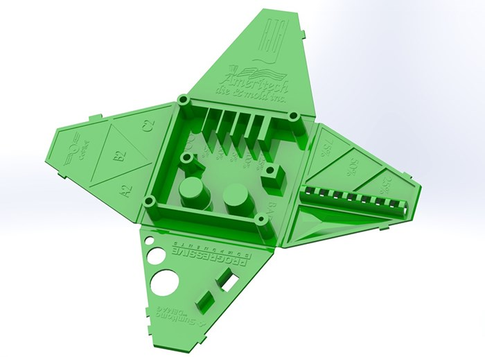 Injection molded design pod with complex geometry.