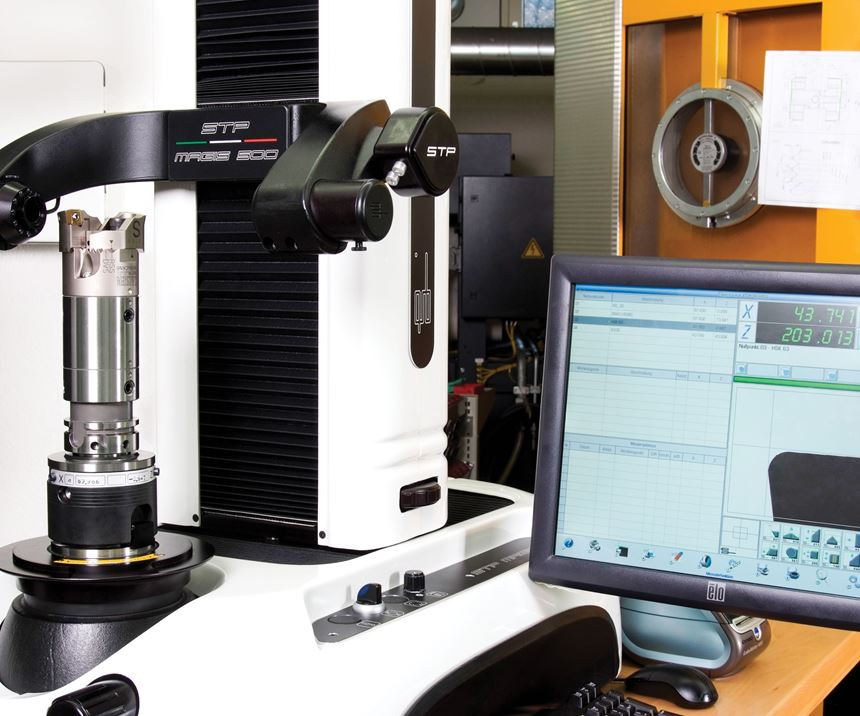Big Kaiser cutting tool being preset using a Speroni STP Magis 500