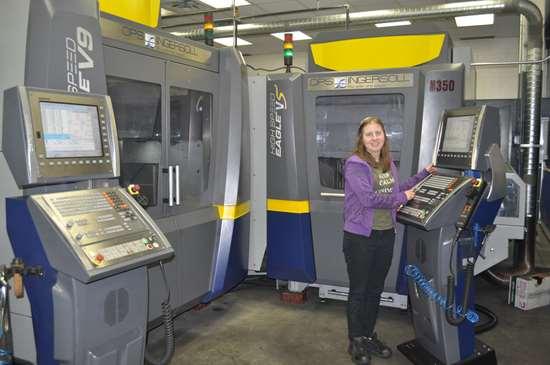 woman at machine