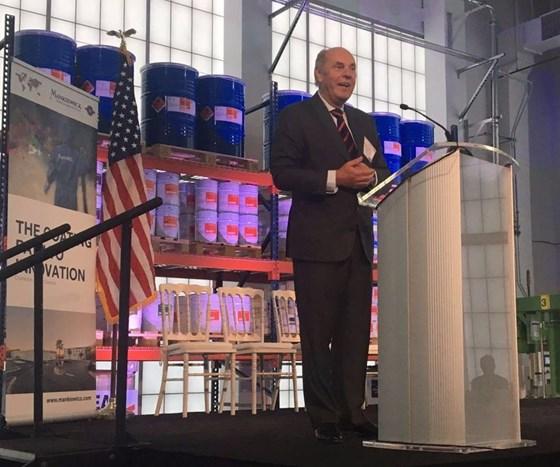 man at podium