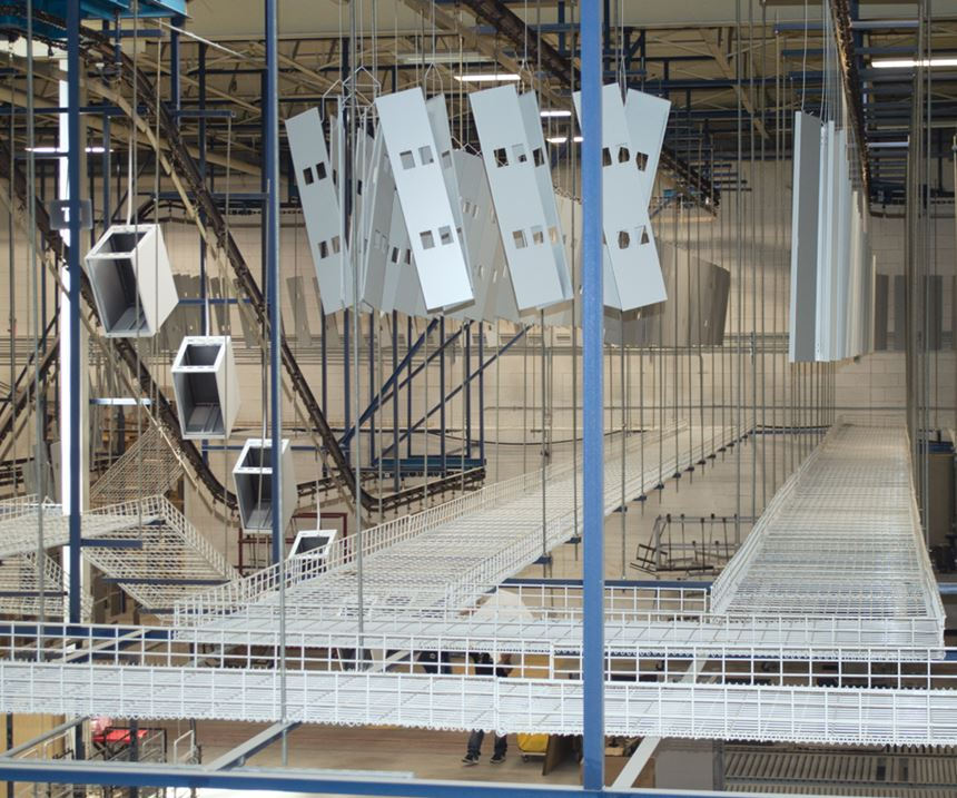 Mezzanine for powder coating operations at Affordable Interior Systems.