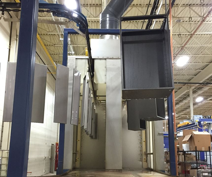 Two external boilers are used for heating stage one of the washer system