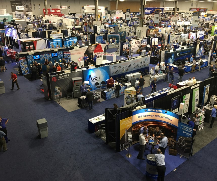 View of the Parts Cleaning pavilion at the 2017 Parts Cleaning Expo, co-located with the Precision Machining Technology Show.