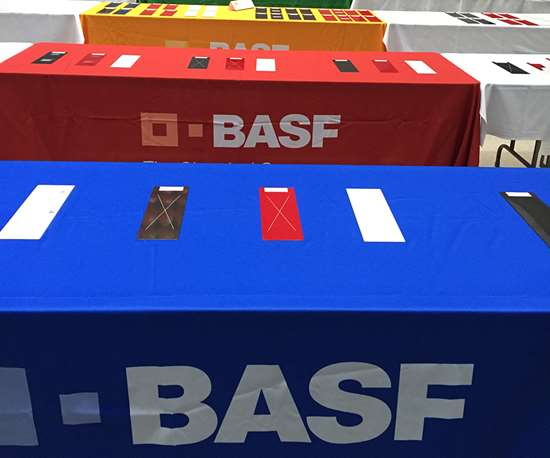BASF lines up paint panel samples for review before receiving GM Global Refinish Approval.