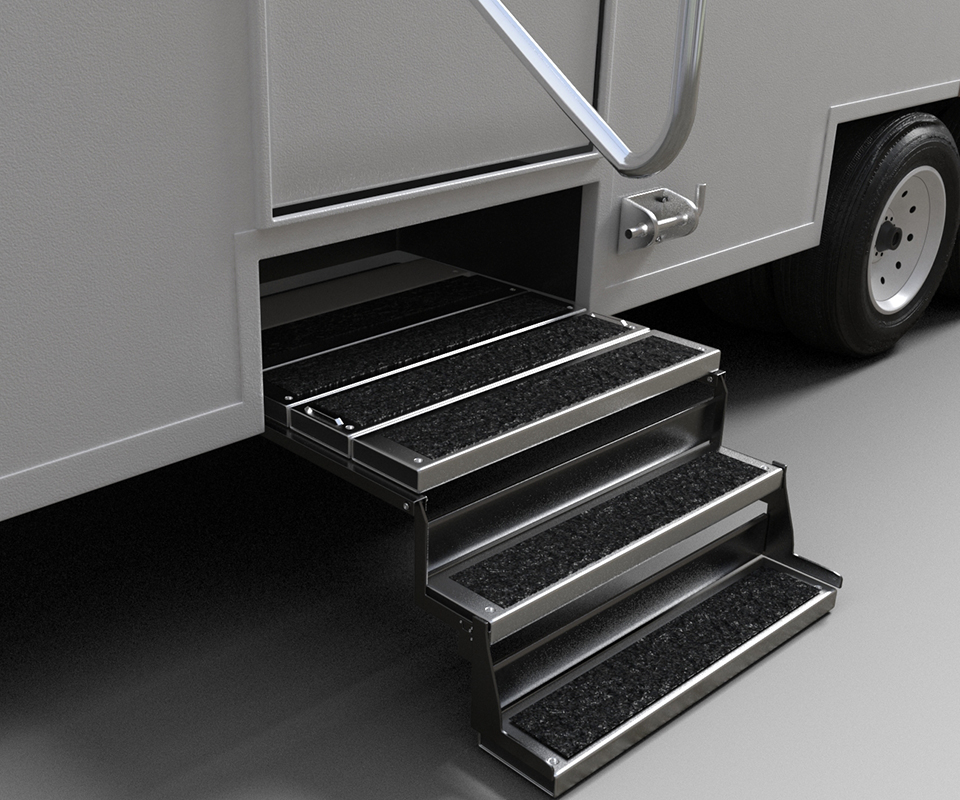 Axalta Alesta Sure-Grip powder coating featured on truck stairs