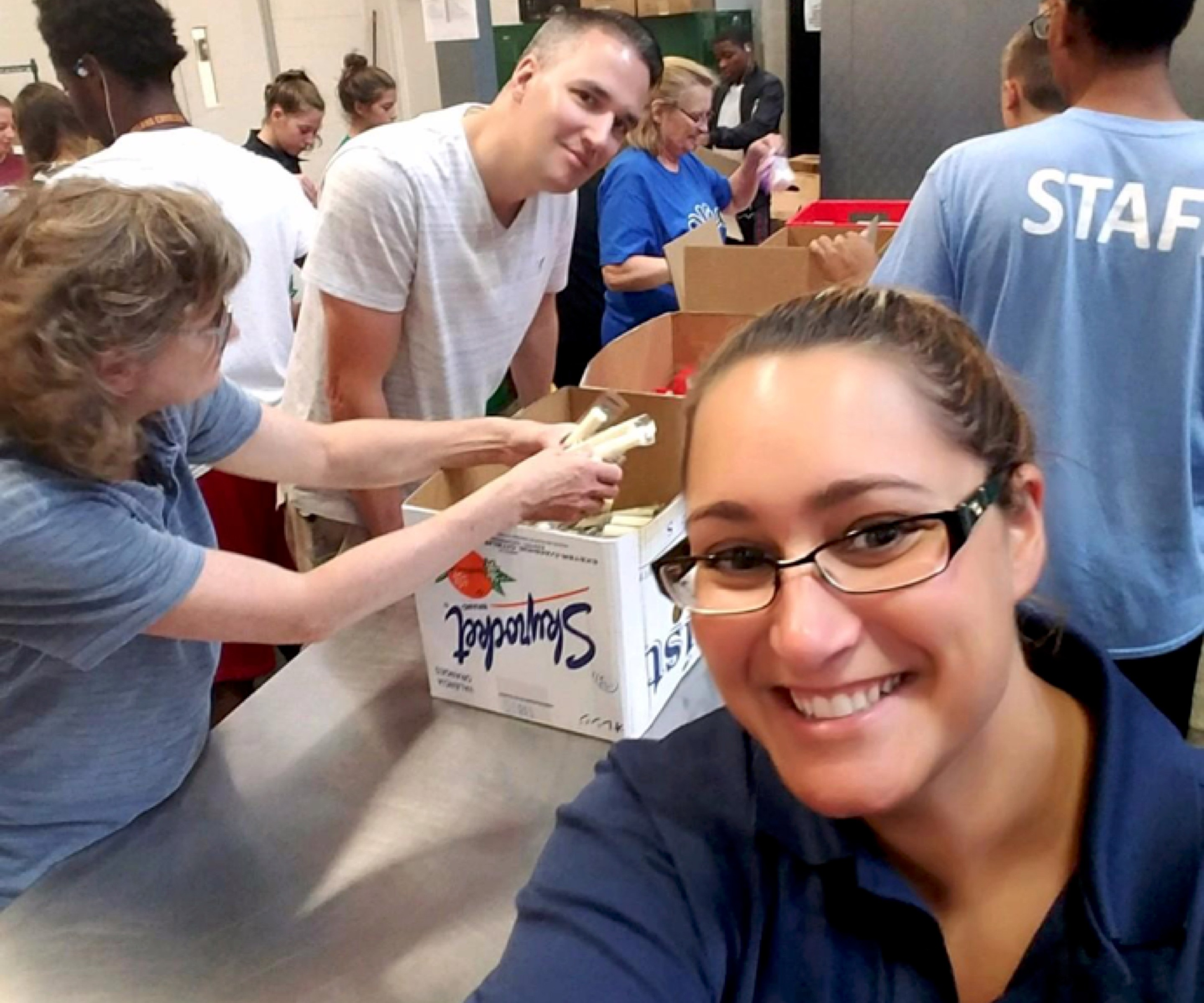 people working at a food bank