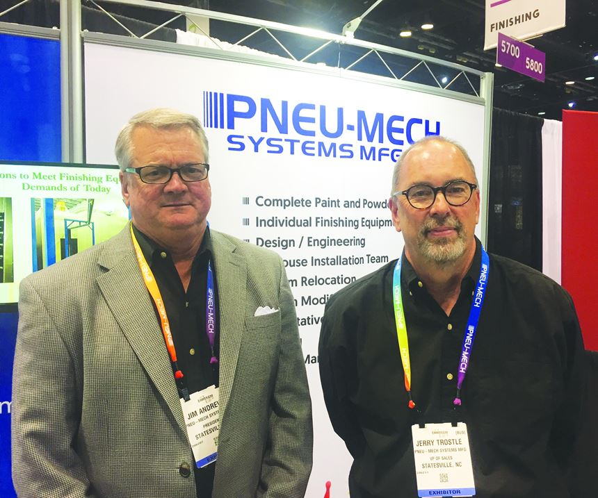 Jim Andrews (left), president of Pneu-Mech Systems, and Jerry Trostle, vice president of sales, are purchasing the manufacturer of paint finishing systems.