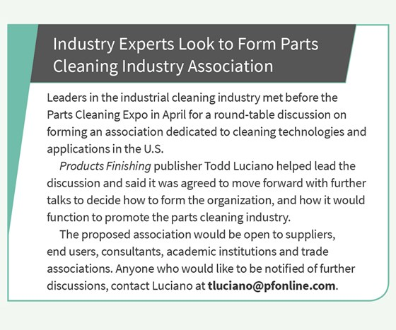 Industry experts look to form parts cleaning industry association.