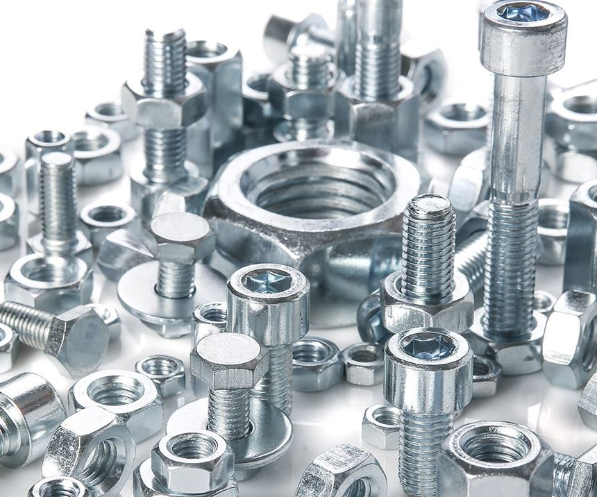 bolts and nuts that are coated