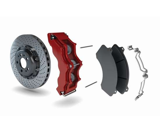 disc brake system with the brake caliper in red