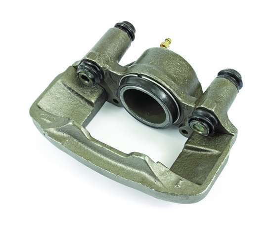 A brake caliper made of cast iron.