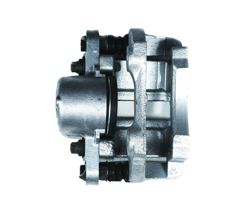 A cast iron brake caliper that has been zinc-plated.