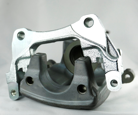 brake caliper - zinc-plated cast iron (top) and anodized aluminum (underneath).