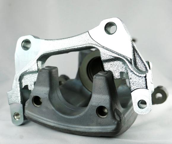 brake caliper - zinc-plated cast iron (top) and anodized aluminum (underneath).