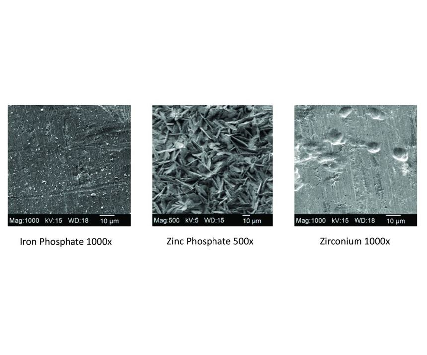 magnification of iron phosphate, zinc phosphate and zirconium coatings