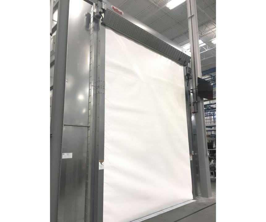 RollSeal Automated Door Systems fabric roll-up paint booth door available from Global Finishing Solutions