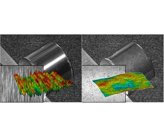 surface maps of metal part before and after centrifugal iso-finishing