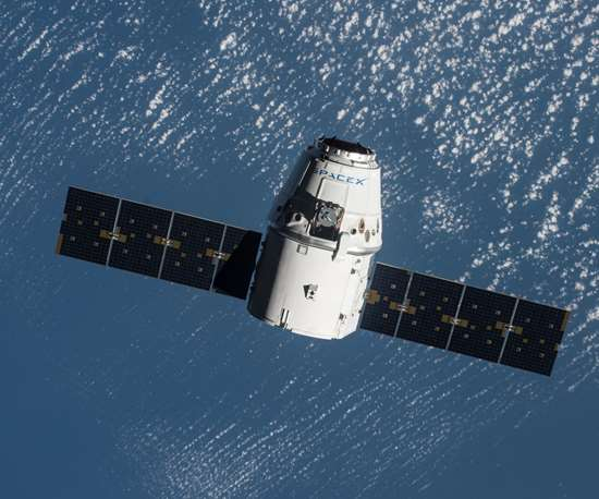 The SpaceX Dragon spacecraft arrives at the International Space Station.