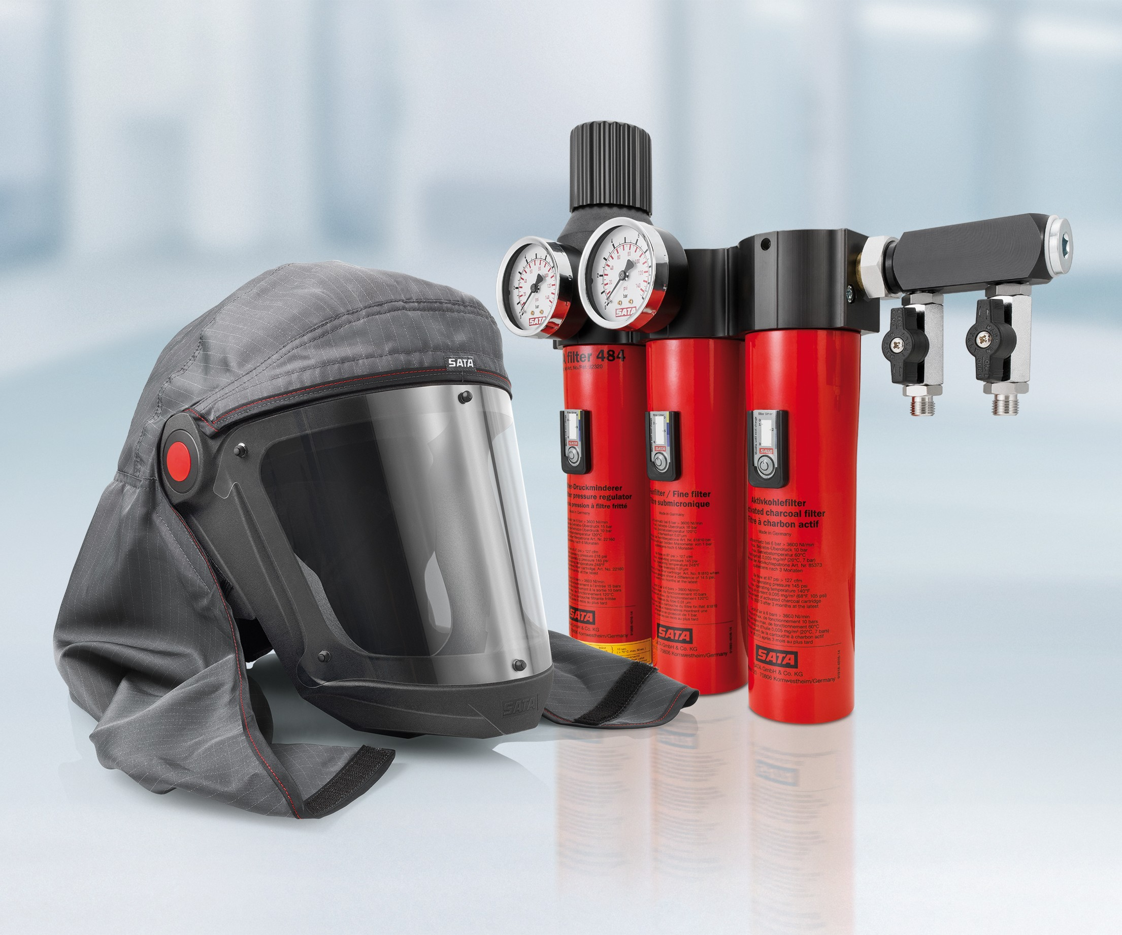 Sata Spray Equipment Air Vision 5000 supplied-air respirator and Sata 400 filter system