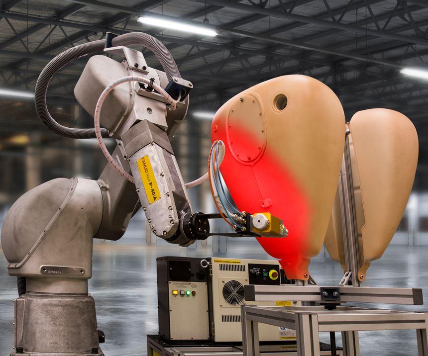 robot painting a tank