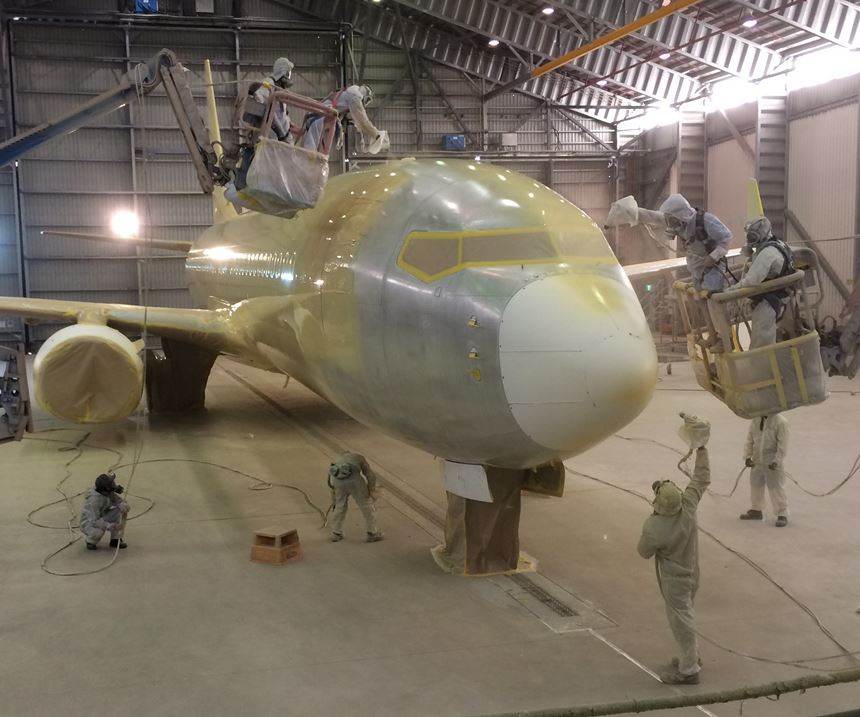 plane being painted
