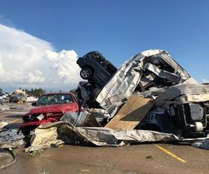 aftermath of tornado damage