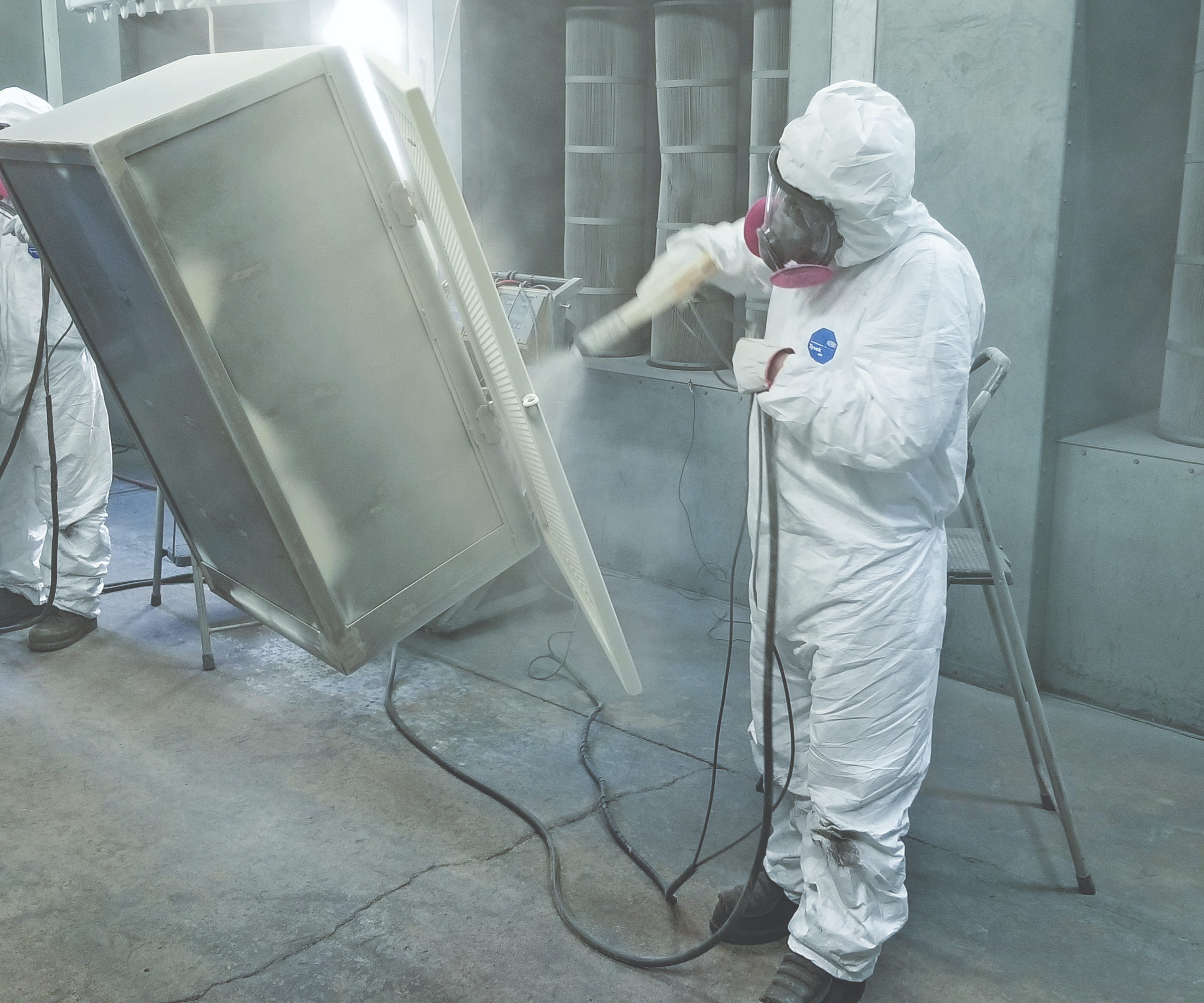 Powder Coating Pre-Blasted Test Panels by Powder Doctor