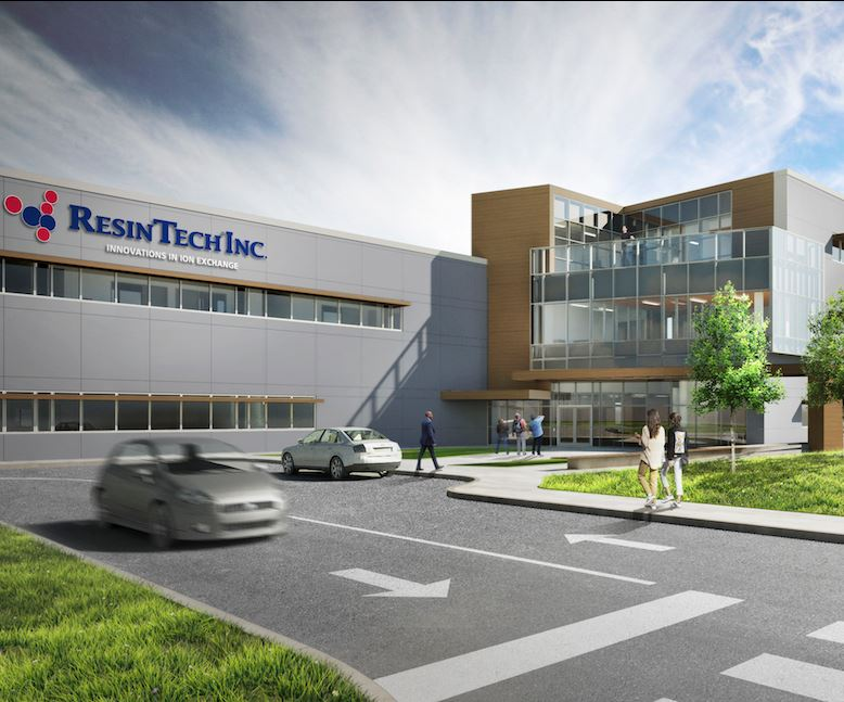 Artist's rendering of the future ResinTech Global Headquarters and Cation Resin production plant.