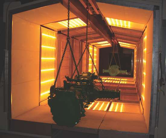 parts curing in an infrared oven