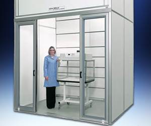 Hemco floor-mounted fume hood.