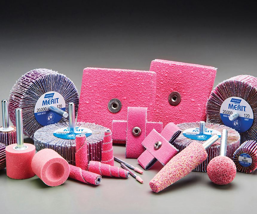 Norton Merit Pink R928 products are designed for challenging materials and difficult-to-reach applications.
