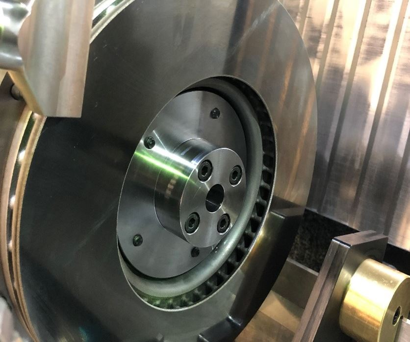 A finished brake disc coated with the EHLA process.
