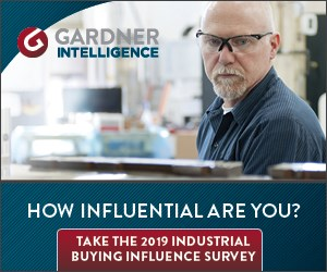 Gardner Intelligence's Industrial Buying Influence Survey is now open.