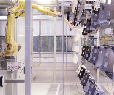 Automated painting with robots is one of the major trends in industrial painting technology. Photo courtesy of GEMA.
