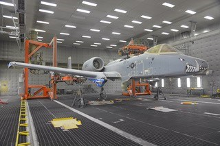 Clemco blasting equipment at Hill Air Force Base prepares to strip paint off a first-production A-10 aircraft. (U.S. Air Force photo by Todd Cromar)