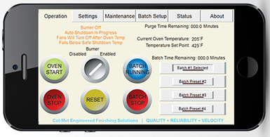 Col-Met Engineering Finishing Solutions' SmartConnect batch oven app