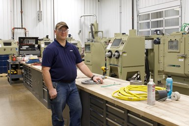 A photo of Clemco lab manager Lucas Cahill in the company's new 4,500 square foot facility