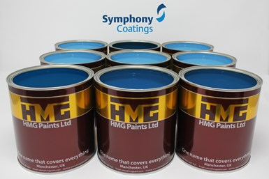 A press photo overlaying Symphony Coatings' logo in a scene with HMG paint cans