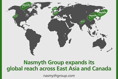 A map showing Nasmyth Group's global locations - with an emphasis on its new China, Japan and Canada locations
