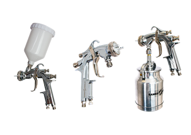 Manual Spray Guns in Gravity, Pressure and Suction Configurations