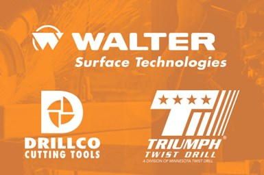 A decorative collage showing the logos of Walter, Drillco and Triumph