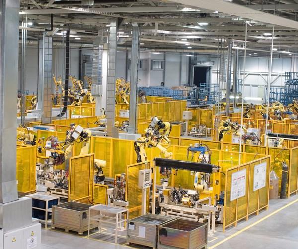 robot work centers on shop floor