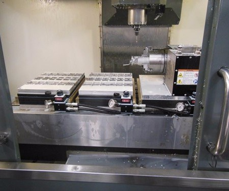 inside a vertical machining center