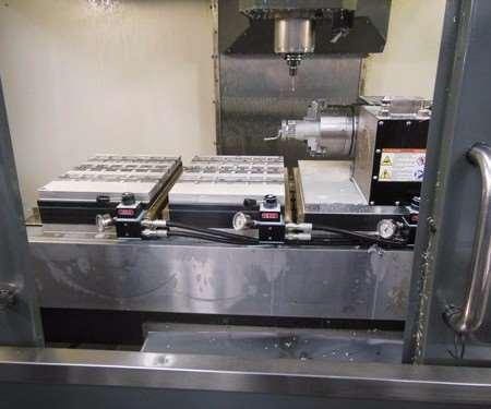 inside a vertical machining center