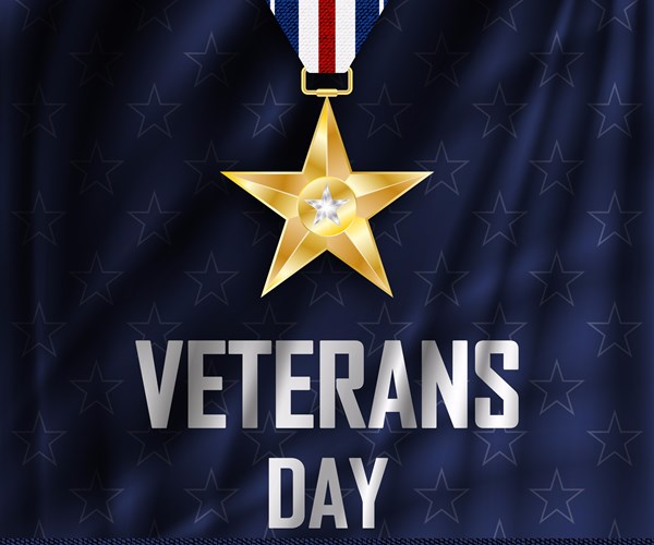 Veterans Day sign with star medal