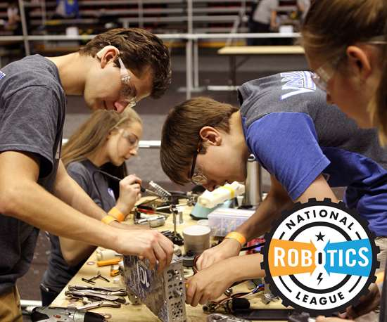 Students participating in the National Robotics League