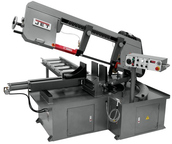 Semi-automatic dual mitering bandsaw
