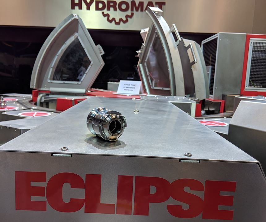 Hydromat's Eclipse 12-station rotary transfer machine with a part produced on it