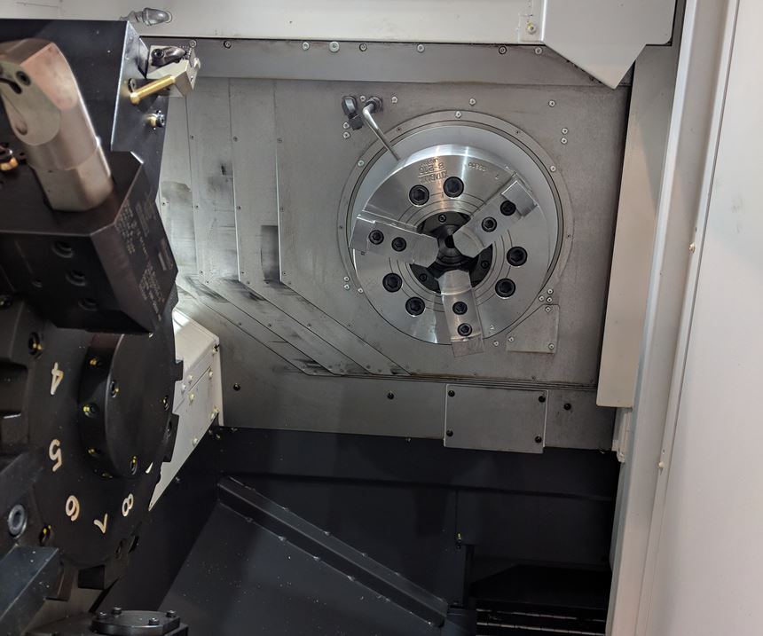 One of the front-facing spindles in Okuma's 25P 2500H lathe